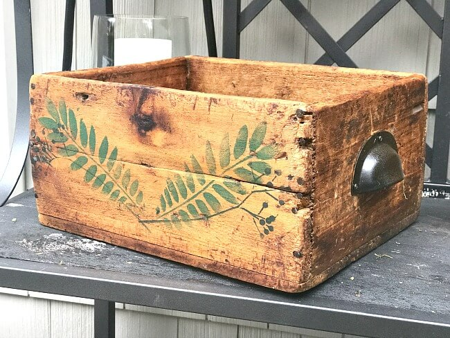 Stenciled Rustic Antique Crate for Flowers