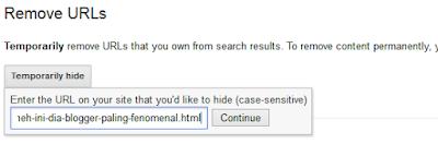 Cara Menghapus Artikel Blog diPencarian Google