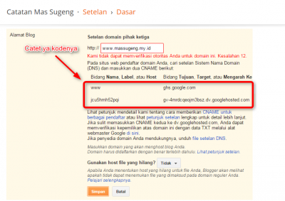 cara memasang custom domain di blogger