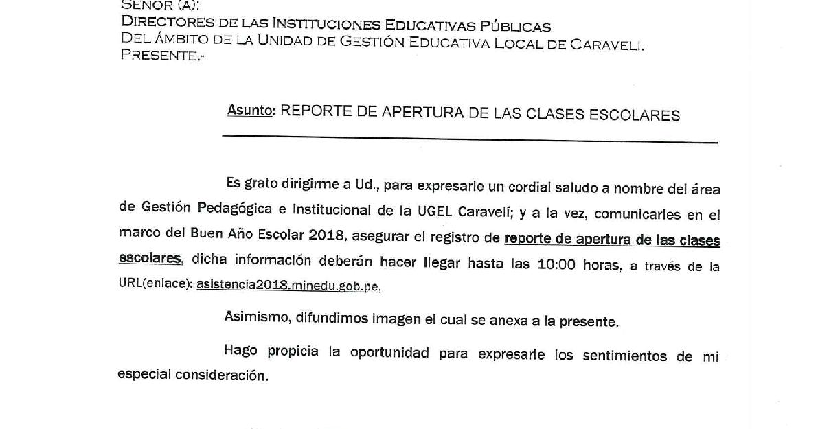 REPORTE DE APERTURA DE LAS CLASES 2018 ~ UGEL CARAVELÍ