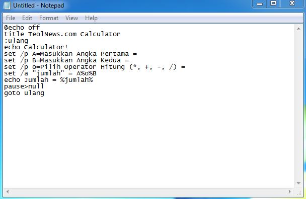Cara Membuat Kalkulator Cepat Menggunakan Notepad