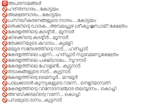 Nicknames of Places in Kerala Last Grade GK Questions