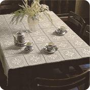 "Mantel ""Mosaicos de motivos cuadrados"" a Crochet"