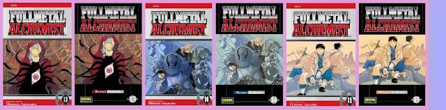 portadas de los cómics 13, 14 y 15 de Fullmetal alchemist