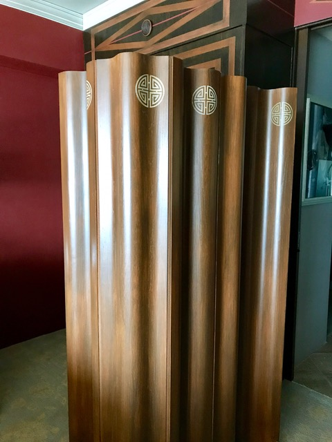 Curved folding screen, wood side