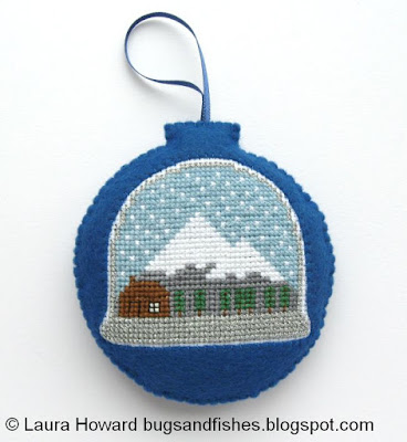 cross stitch snowglobe felt ornament