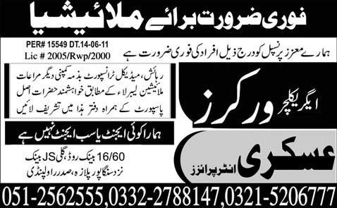 PaperPk Daily Jobs: Job in Malaysia Agriculture Worker