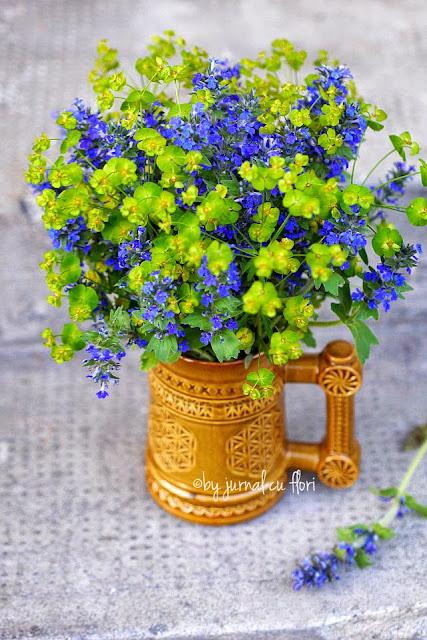 aranajment rustic galben albastru blue yellow flower arrangement summer