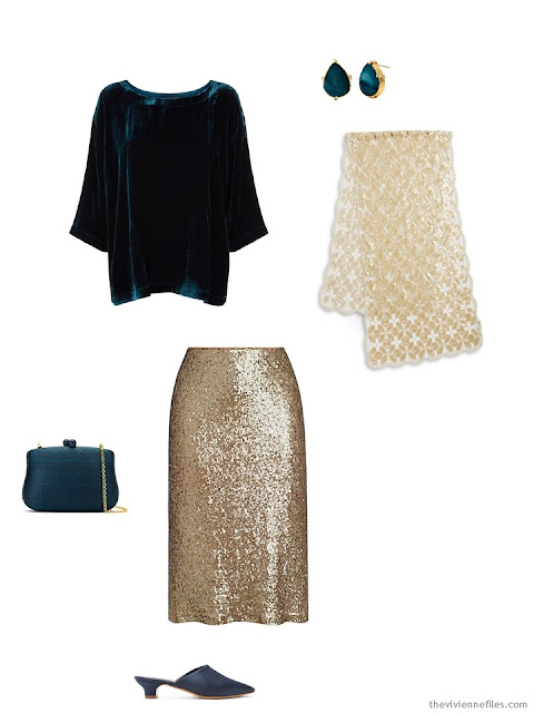 a teal velvet top and gold skirt, for the holidays