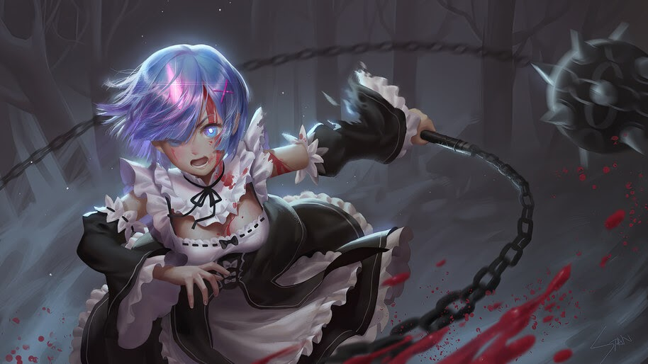 Re:Zero, Rem, Morning Star, Anime, Girl, Maid, 4K, #4.2672