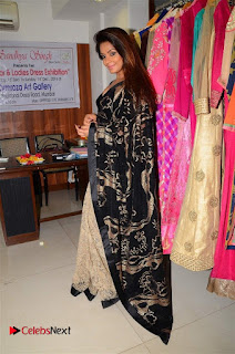 Actress Neetu Chandra Stills in Black Saree at Designer Sandhya Singh's Store Launch  0080.jpg