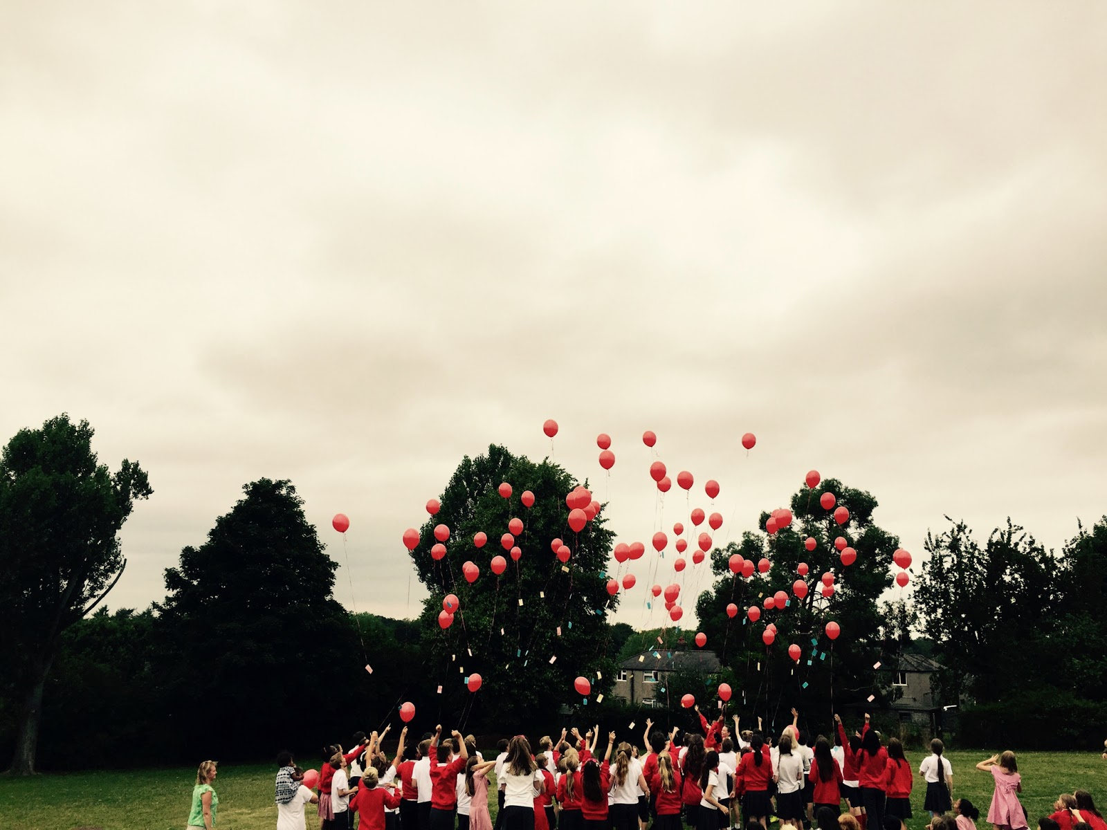 Children releasing balloons into the sky
