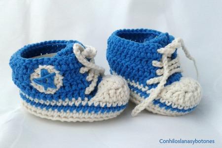 Conhiloslanasybotones - zapatillas tipo converse de ganchillo para bebé