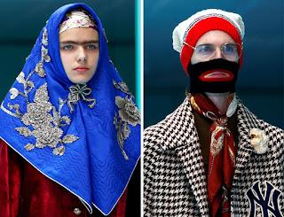 Saptamana modei din Milano ! Modele care poarta pe podium au capete false, dragoni, trei ochi....