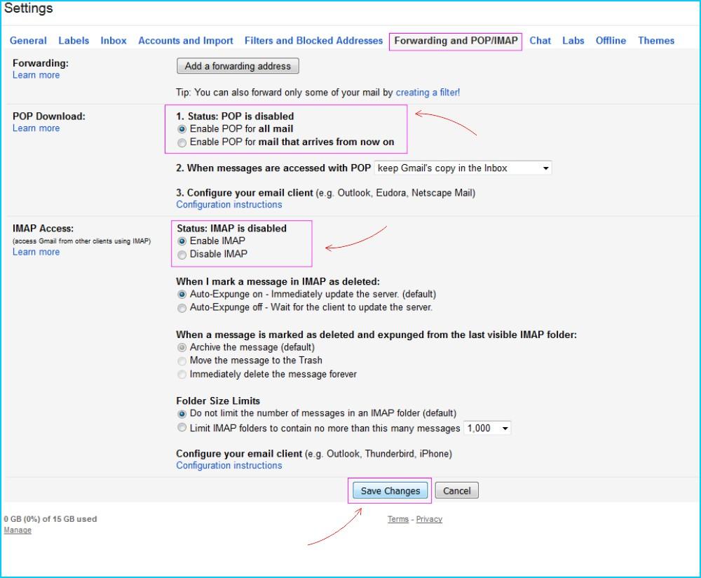 POP IMAP GMail - Aktifkan Pengaturan POP dan IMAP