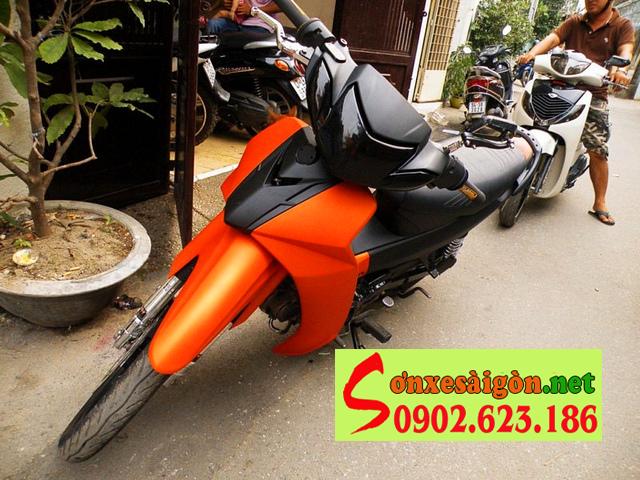 Mẫu sơn xe Yamaha Sirius màu cam đen nhám cực đẹp