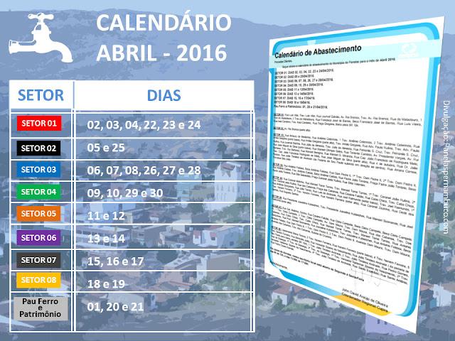 Calendário de abastecimento do Mês de Abril 2016 na cidade de Panelas-PE