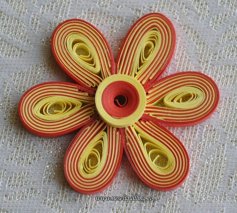 neseli quilling striped flower technique