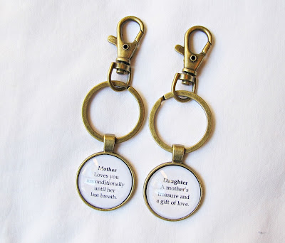 mother daughter keyring set keychain quote family domum vindemia