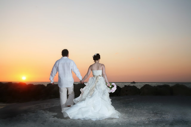 south seas resort sunset wedding