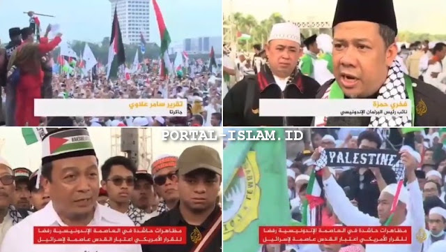 "VIRALKAN! Liputan Internasional TV Al Jazeera ""Aksi Terbesar"" Bela Palestina 1712 di Monas"
