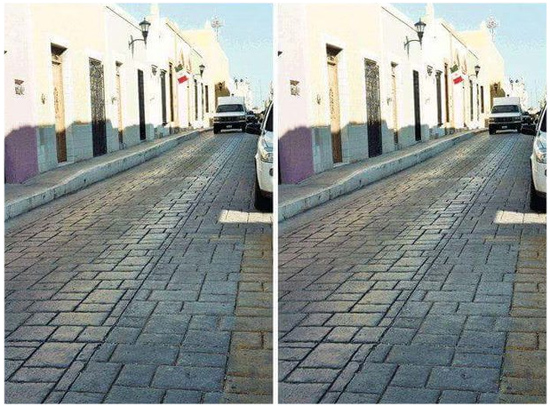 Ilusão ótica rua carro branco foto lado a lado