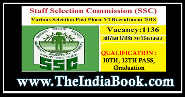 SSC Recruitment For 1136 Selection Posts Phase VI Notification 2018