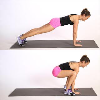 cara membentuk otot kaki dengan gerakan plank jump in