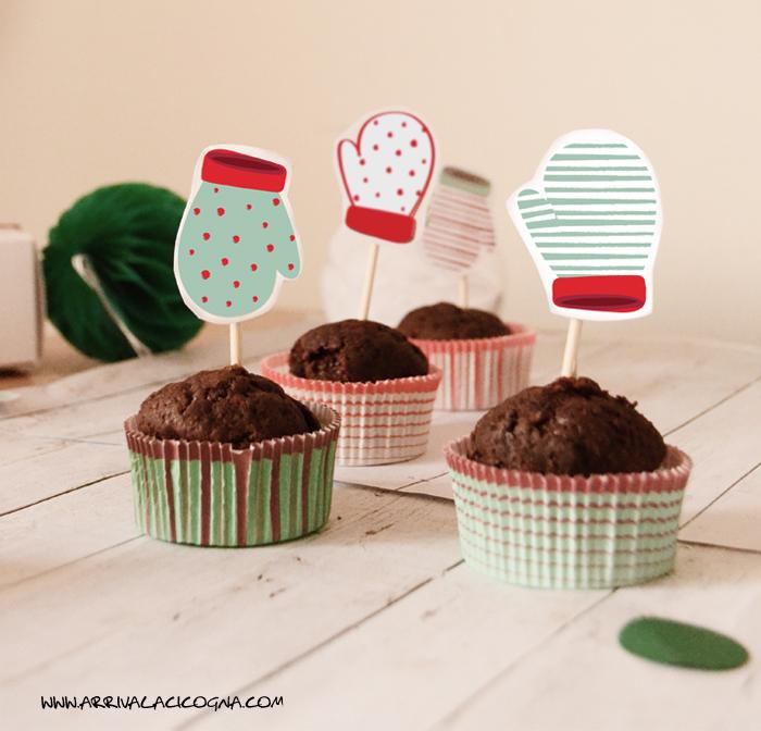 topper per cupcake e muffin di natale