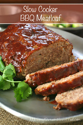Low-Carb Slow Cooker Barbecue Meatloaf from All Day I Dream About Food featured on SlowCookerFromScratch.com