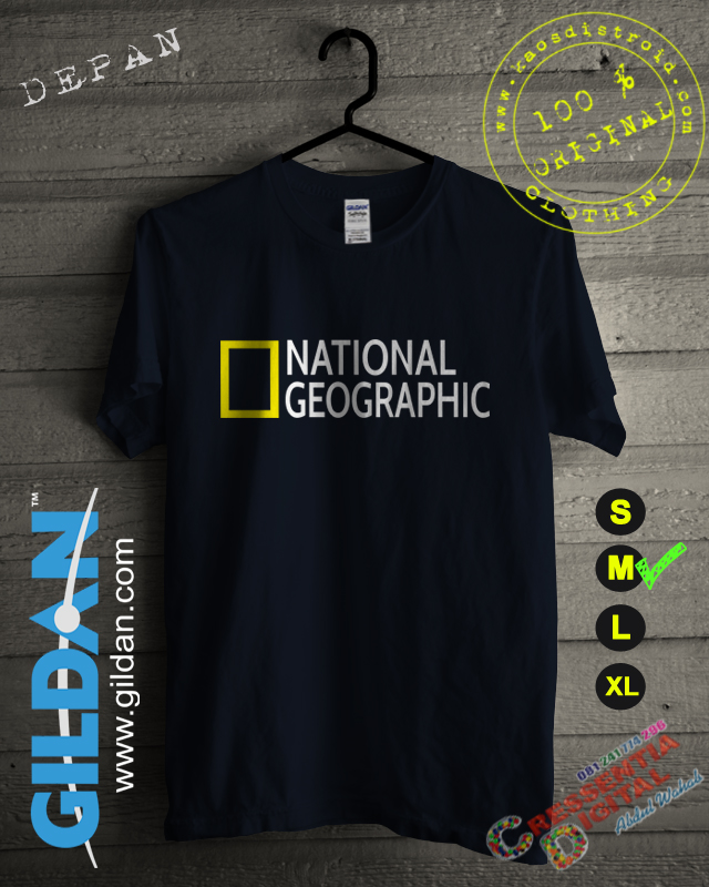 Baju Kaos National Geographic Warna Biru Navy