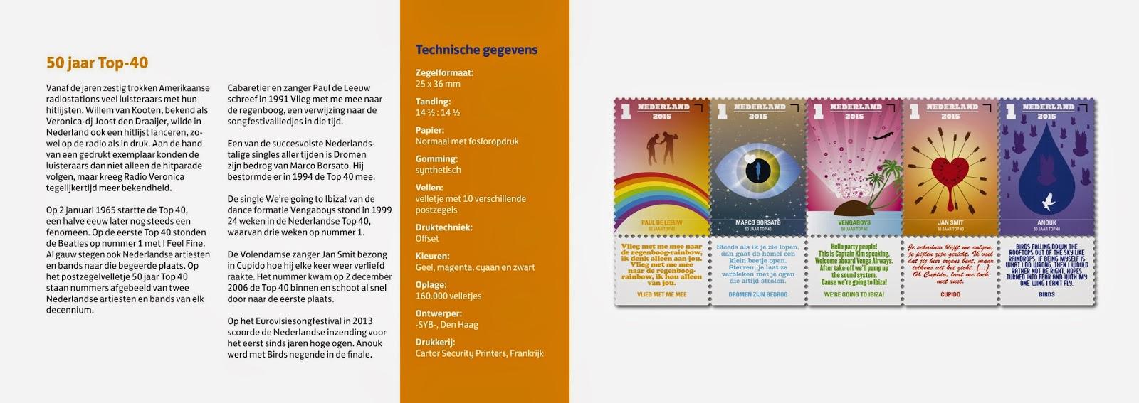 50 jaar top 40 postzegels Nederlandse Top 10 Acts: Viering 50 jaar Top 40 met live  50 jaar top 40 postzegels