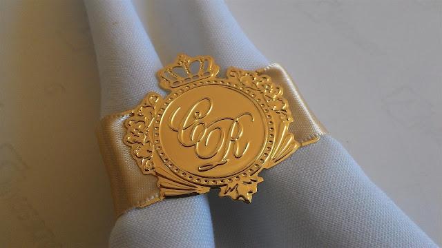 porta-guardanapo brasão de casamento