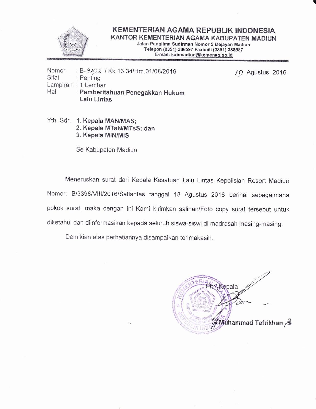 Seksi Pendidikan Madrasah Kabupaten Madiun Surat