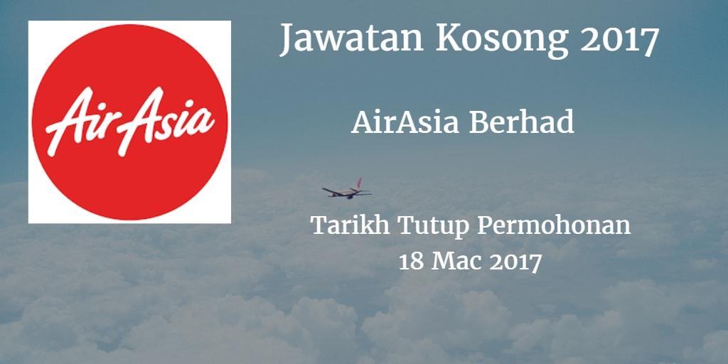 Jawatan Kosong AirAsia Berhad 18 Mac 2017