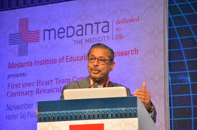 Dr Naresh Trehan, CMD, Medanta at the first International Coronary Congress 2016 at Taj Palace