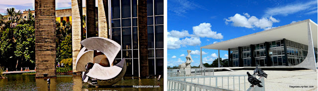 Brasília: escultura de Bruno Giorgi no espelho d'água do Itamaraty e a sede do STF