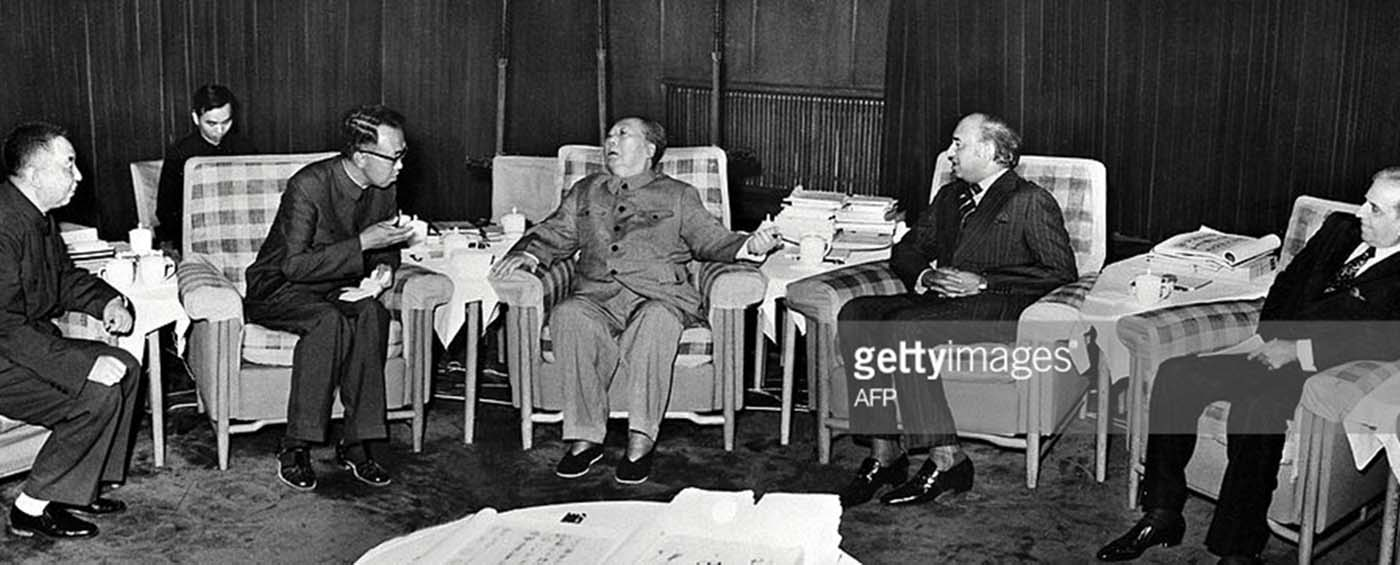 A picture released by Chinese official agency shows President Mao Zedong on May 27, 1976 in Beijing during his meeting with Pakistani Prime minister Zulfikar Ali Bhutto (left). This is the last meeting President Mao was to have with a foreign State leader until his death.