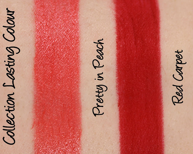 Collection Lasting Colour Lipstick - Pretty in Peach, Red Carpet swatches & review