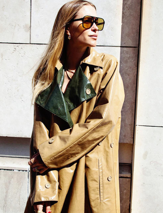 Pernille Teisbaek wearing reversible Celine trench in coated cotton