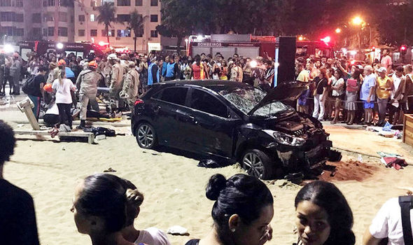 Copacabana beach HORROR: Baby killed and 17 people injured as car ploughs into pedestrians