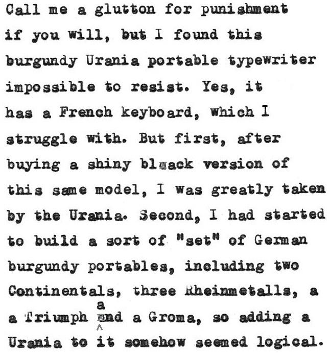oz.Typewriter: Burgundy Urania Portable Typewriter: 'The