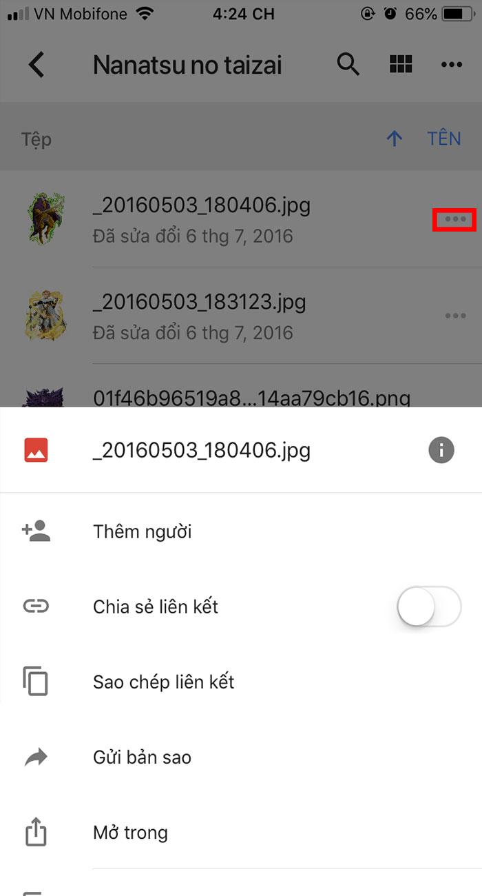 thao tác với tập tin trên google drive ở Android và IOS