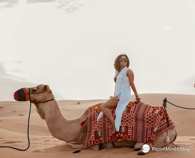 Toke Makinwa Rides Camel For The First Time