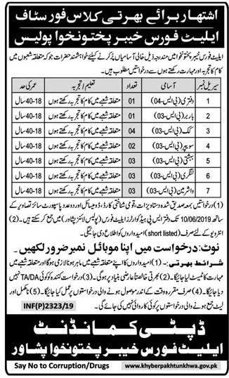 Elite Force KPK Police Jobs 2019 for Class IV