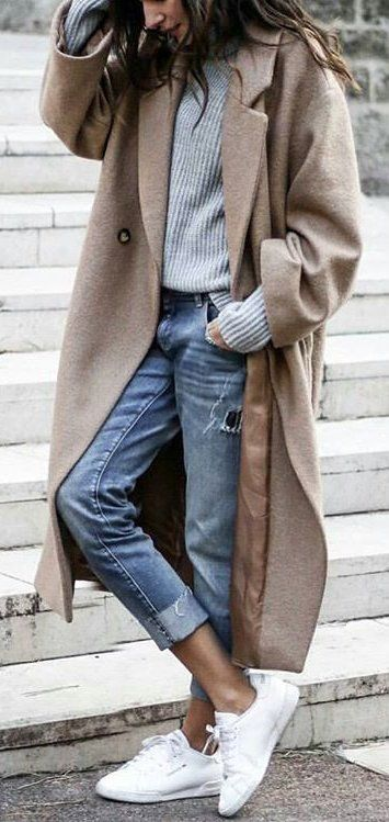 how to style a nude coat : sweater + ripped jeans + sneakers