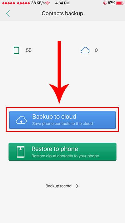 Oppo F3 O-Cloud Backup