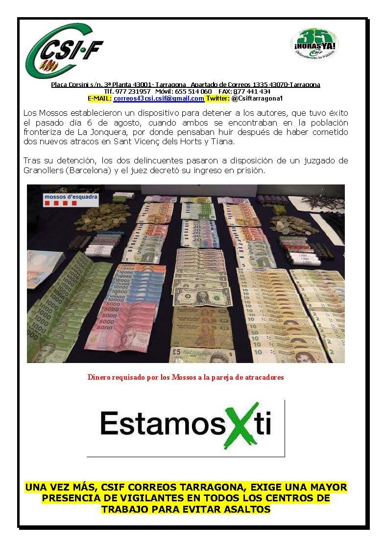 Csi f correos tarragona detenida una pareja que asalt for Oficina de correos tarragona