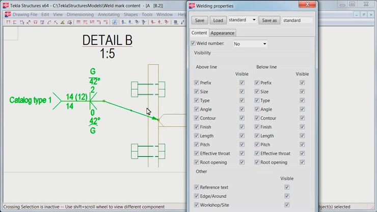 Данные сварочного шва из 3D модели можно визуализировать на чертеже используя стандартные сварочные обозначения