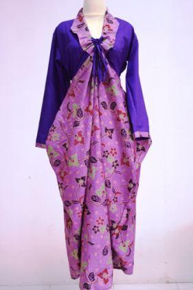 gamis batik kombinasi untuk orang gemuk